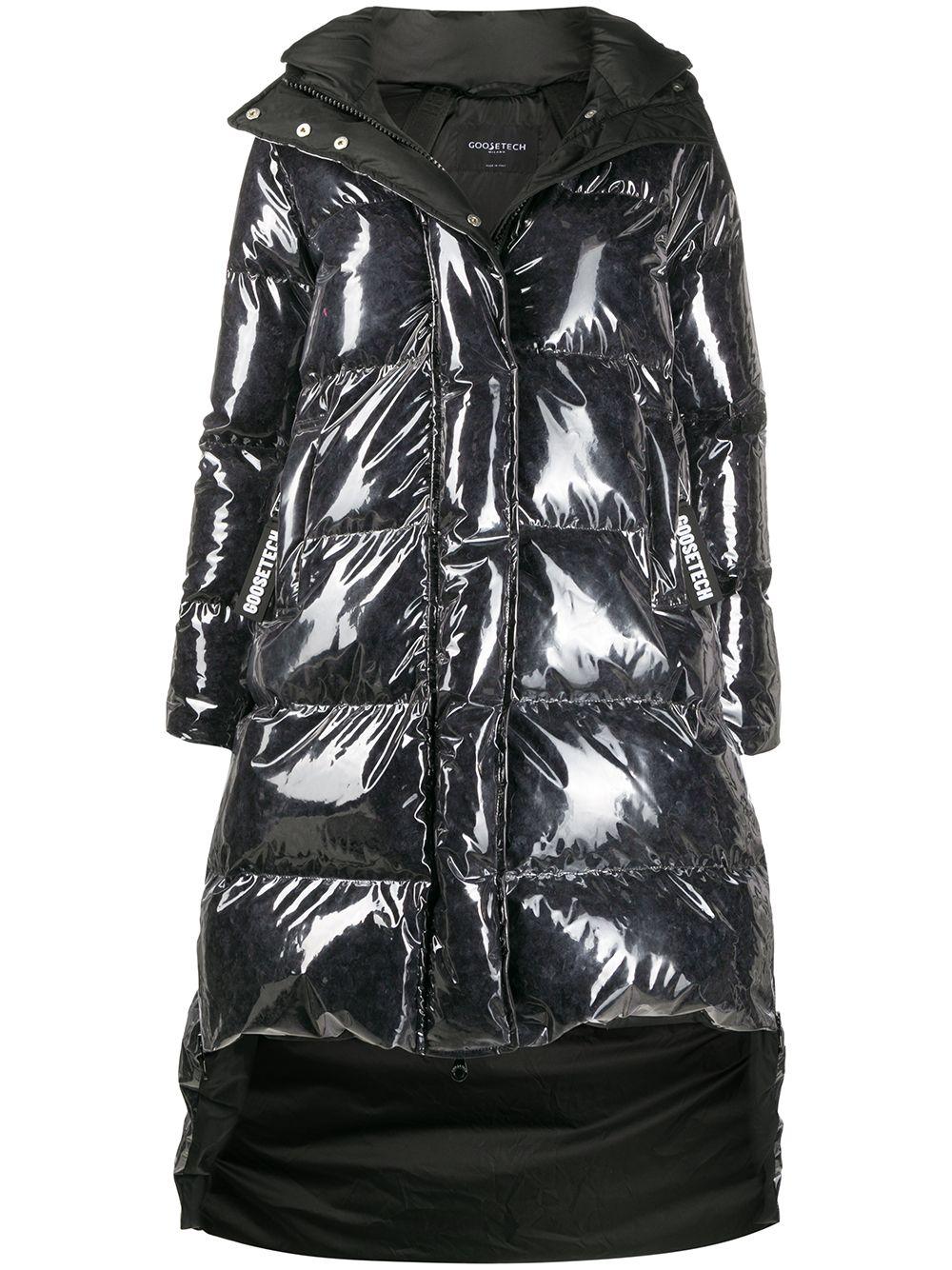 padded asymmetric hem coat
